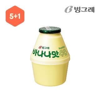 [슈퍼마트] 빙그레 바나나맛 우유 5+1