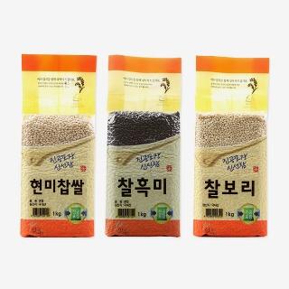[슈퍼마트] 국산 햇곡 1kg * 3(현미찹쌀, 찰보리, 찰흑미)