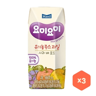 [슈퍼마트] 요미요미 유기농주스 사과포도배 125ml*3입